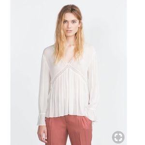 "Zara ""Trafaluc"" White Peplum Blouse"